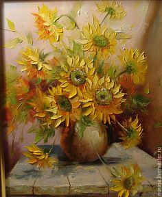 Купить подсолнухи - желтый, картина, картина в подарок, картина для интерьера, картина маслом, цветы, подсолнухи