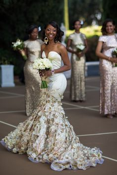 Couture - Wedding Dress - Silk Bridal Gown with Gold Floral Lace - Deep V Neck - Built in Corset - Custom Couture - Unique Showstopping Gown Dream Wedding Dresses, Wedding Gowns, Wedding Hijab, Wedding Cakes, Black Bride, Bouquets, Bridal Fashion Week, African Dress, African Wedding Dress