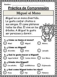 20 Spanish Reading Comprehension Stories comprensión by The Bilingual Hut Spanish Worksheets, Spanish Teaching Resources, Spanish Activities, Spanish Language Learning, Spanish Games, English Language, Kids Worksheets, Dual Language, Foreign Language
