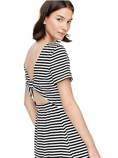 Love stripes, love the detail in the back, BUT do prefer outfits that aren't hard to wear a bra.