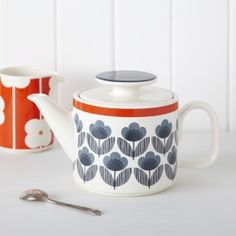 Orla Kiely Meadow Blue Teapot | Tableware | rigby & mac