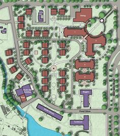 This rendering of the TCU Greek Village shows a possible addition of two new residence halls (1 and 2), in order to house more students, and a new dining hall.
