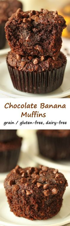 These dairy-free, gluten-free, grain-free chocolate banana muffins are bursting with banana flavor and are super rich and decadent! They're also naturally sweetened with honey.