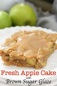 Fresh Apple Cake with Brown Sugar Glaze isa sugary sweet cake filled with fresh apples pecans and topped with buttery brown sugar decadence. This simple cake is little slice of comfort just waiting to be devoured! Apple Cake Recipes, Apple Desserts, Köstliche Desserts, Delicious Desserts, Dessert Recipes, Apple Cakes, Apple Sheet Cake Recipe, Sheet Cake Recipes, Pizza Recipes