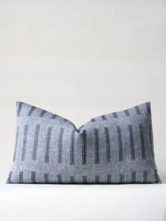 Tribe Cushion - Indigo Chambray block print linen pillow / Susan Connor New York