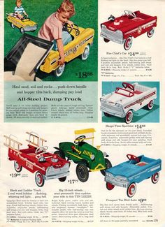 Pedal cars, 1962 Sears Wish Book 1960s Toys, Retro Toys, My Childhood Memories, Childhood Toys, Christmas Books, Vintage Christmas, Christmas Morning, Vintage Advertisements, Vintage Ads