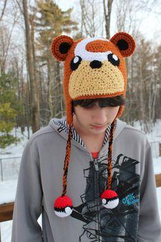 CROCHET - HAT / BONNET / MUTS - POKEMON - Pokemon Teddiursa inspired hat by Crochetri on Etsy, $53.50