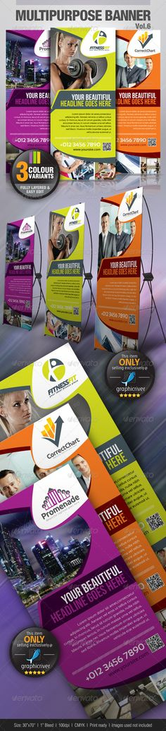 "Multipurpose Banner Vol.5 #GraphicRiver Simple and generic multipurpose Banner template suitable for any kind of businesses with easily edit to fit your needs. Colour : CMYK Files : .psd Size : 30"" x 70"" / 100dpi bleeding : 1"" images used are not included. help.txt included for fonts and images used details Sansation Regular Sansation Bold .dafont /search.php?q=sansation Bebas Neue .dafont /bebas-neue.font Kindly contact me if you need any help and I am happy to offer support. Would be…"