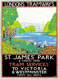 St James Park, London County Council (LC) Tramways Poster, 1933 by NaxArt Transportation Giclee Print - 41 x 61 cm