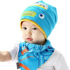 GOGO Baby Bib And Hat Set, Adorable Cartoon Pattern, 2 Pcs