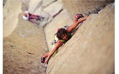 Catherine Destivelle, a great french climber. Looks like she's on one of the incredible chimney routes on Devils Tower.