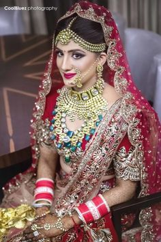 Indian Wedding Jewelry - Polki Choker with Long Necklace | WedMeGood | Polki Gold Choker with attached Necklace with Emerald and Polki Hanging Stones, Gold Matha Patti, Nose Ring