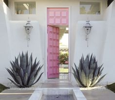 50's-style Palm Springs-style entry, succulents, pink door, from Compulsively Compiled