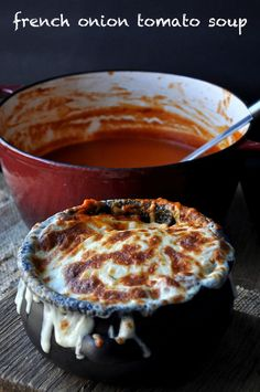 If your two favorite soups married, this is what it would taste like. French Onion Tomato Soup, is perfectly roasted tomatoes, onions and garlic topped with toasted bread and (ooey gooey) melted cheese.