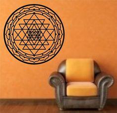 Sri Yantra Wall Decal mandala Sticker Art Decor Bedroom Design Mural interior design art