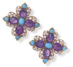 A PAIR OF AMETHYST, TURQUOISE AND DIAMOND EAR CLIPS, BY VAN CLEEF & ARPELS Each of quatrefoil motif, set to the center with an oval-shaped turquoise, extending oval-cut amethyst lobes within a pavé-set diamond surround, enhanced by circular turquoise terminals, mounted in gold Signed VCA for Van Cleef & Arpels, NY, no. 49026