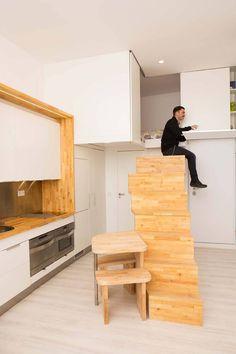 Loft ZURITA. Madrid : Pasillos, vestíbulos y escaleras minimalistas de Beriot, Bernardini arquitectos