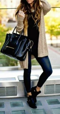Cardigan, Céline Luggage and Fake Leather Leggings