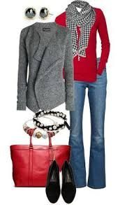 Love the gray sweater. A little girly/feminine, but the outfit is still tailored. The red is a little too bright for my skin tone. A blue-red is great, but not an orange-y red.
