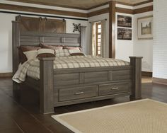 Juararo Transitional King Poster Bed With Footboard Storage By Signature  Design By Ashley At Del Sol Furniture