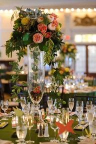 Image detail for -... - Elevated centerpiece on a glass vase with gorgeous garden roses
