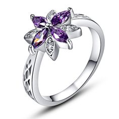 Spinel Cut Purple Amethyst 18K White Gold Plated Ring Offer
