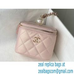 Chanel Pearls Iridescent Grained Calfskin Small Vanity Case with Chain Bag AP2161 Nude Pink 2021