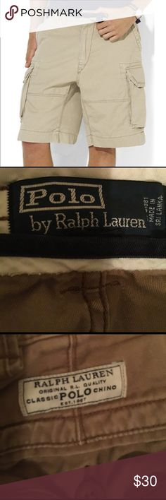 Ralph Lauren Classic Polo Chino Shorts Rugged cargo fitted shorts in washed cotton chino. Standard rise belted waist, flat front. Zip fly zip with button closure. Angled front pockets, layered cargo pocket. #polo, #polocargoshorts, #cargoshorts, #ralphlaurenpolo, #ralphlauren Ralph Lauren Shorts Cargo