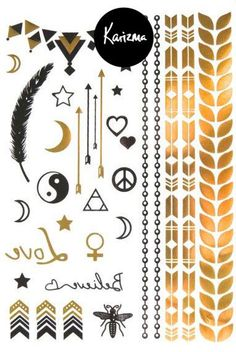 Magic Night Metallic Temporary Tattoo Gold Silver Festival Beach Holiday Feather Stars Gift Present Birthday Anniversary