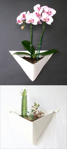 Made from folded sheet metal, these white origami-inspired wall planters create the perfect home for a small succulent garden, a large air plant, or even an orchid.