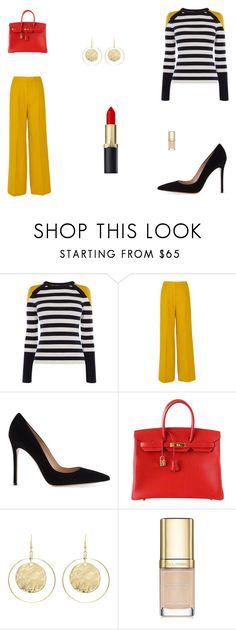 """Untitled #9302"" by mie-miemie ❤ liked on Polyvore featuring Karen Millen, MaxMara, Gianvito Rossi, Hermès, Kenneth Jay Lane and Dolce&Gabbana"