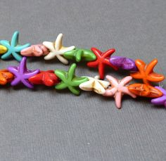 Howlite Dyed Beads. Starfish Beads. Rainbow Colors. Multi Color. Gemstone Beads. Half Strand. 14-15mm. 12 Beads. by trunksale on Etsy