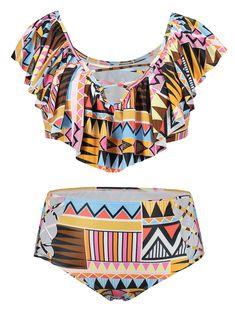 c6ac0842ce715 Flounce Aztec Print Plus Size Bikini Set - COLORMIX XL Flounce Bikini Top