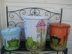 6,10 & 20 gallon Hand Painted Cans - Designs go around entire can