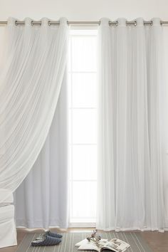 Mix & Match Tulle Sheer & Blackout 4-Piece Curtain Set - Vapor by Best Home Fashion Inc. on @HauteLook