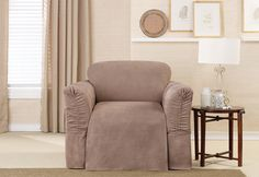 Sure Fit Slipcovers Soft Suede Cinched Arm One Piece Slipcovers - New Slipcover Feature for Wide or Narrow Arms, Achieve The Most Custom Fit With A Cinched Design For Adjustable Arms. #sofa #loveseat #chair #slipcover