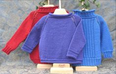 """All three sweaters are knit from the TOP DOWN. 1) Make a """"mostly knit"""" sweater, 2) For a different look, add a ribbed collar and cuffs to your"""