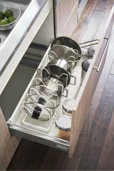 Kitchen Cupboard Organization, Pan Organization, Diy Kitchen Storage, Diy Kitchen Cabinets, Kitchen Drawers, Home Decor Kitchen, Kitchen Interior, Kitchen Storage Solutions, Diy Kitchen Ideas