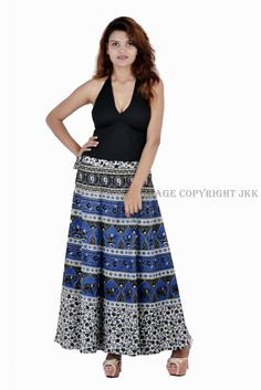 Rajasthani Print Women Wrape Around with Matching Beachwear Skirt Top Tank IWUS Indian Blue, Indian Skirt, Wrap Around Skirt, Cotton Skirt, Beachwear, Women Wear, Style Inspiration, Summer Dresses, Trending Outfits