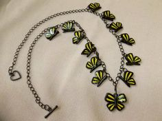 Polymer Clay Butterfly Necklace, Handmade Polymer Clay Butterfly Necklace, Monarch Butterfly, Butterflies, Polymer Clay Butterflies - pinned by pin4etsy.com