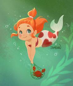 Mermaid II                                            Merbaby Mermaid Fairy, Cute Mermaid, Baby Mermaid, Mermaid Artwork, Mermaid Drawings, Unicorns And Mermaids, Mermaids And Mermen, Mermaid Illustration, Cute Illustration