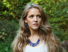 Royal blue sodalite statement bib necklace by Rosehp Jewelry