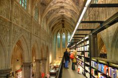 Book appeal: Browsing books in a 700 year old church is an experience you'll only have at Polare. There's a mix of Gothic architecture and m...