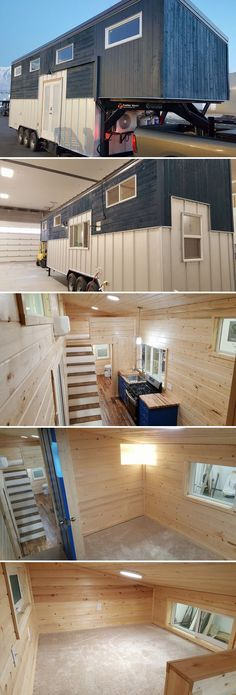 This 35' industrial style gooseneck tiny house features custom metal exterior siding, engineered hardwood floors, and a Big Chill retro style refrigerator.