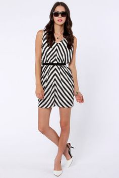 LULU's Top of the Incline Black and Ivory Striped Dress