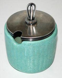 Lidded vase in earthenware. The vase: H: cm. Robins Egg, Earthenware, Pottery Art, Denmark, Danish, Vase, Touch, Color, Jars