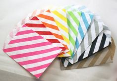 MIX & MATCH - 50 Mini Kraft 2.75 x 4 DiAGONAL STRIPES paper tiny bitty bags - Packaging, Party Favors, Candy Treats, birthday. $10.50, via Etsy.
