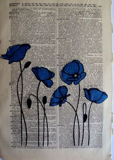 Items similar to Blue Poppies Vintage Dictionary Page Art on Etsy - Bla . Articles similar to Blue Poppies Vintage Dictionary page art on Etsy - Blue poppies, sew on fabric? Journal D'art, Art Journals, Art Journal Pages, Journal Ideas, Art Du Collage, Collage Book, Newspaper Art, Newspaper Painting, Book Page Art