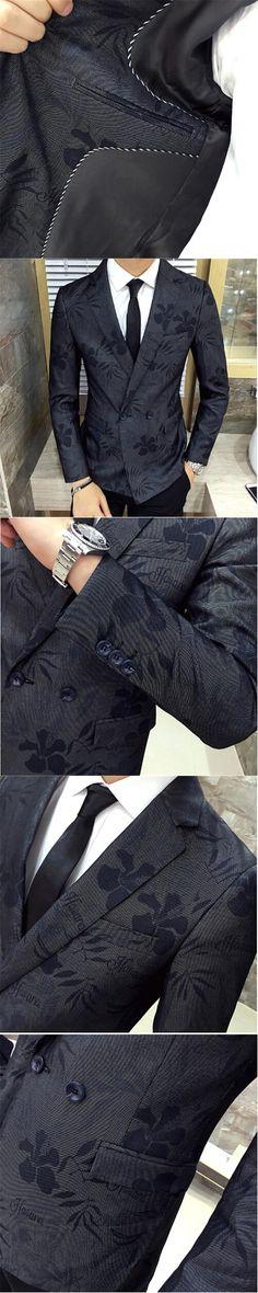 AILOOGE 2017 Men's jacket Blazers Flower Patterns Cotton Single Button Slim Men's Business Casual High-quality Party Dress
