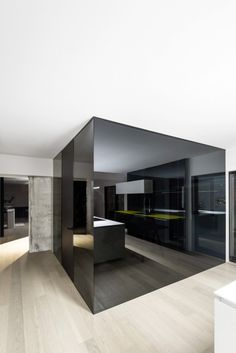Black glass wall